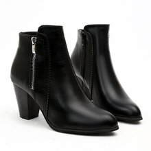 Woman ankle Boots for women Woman British Style Leather Zip Boots Martin Boots Autumn Winter 2019 New High-heeled Shoes lovexss woman metal decoration high heeled ankle boots autumn winter plus size 33 43 shoes black gray genuine leather boots