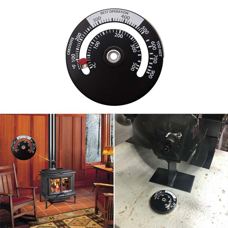 Magnetic Heating Stove Thermometer Heat Powered Wood Log Burning Stove Fireplace Burner Fireplace Fan Thermometer Fireplace Tool