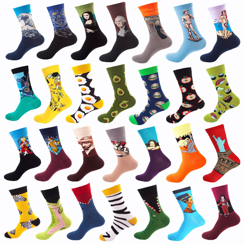 Women's Cotton Funny Art Socks With Print Cute Spring Autumn Happy Socks With Avocado Sushi Harajuku Fashion Socks 5Pairs/Lot
