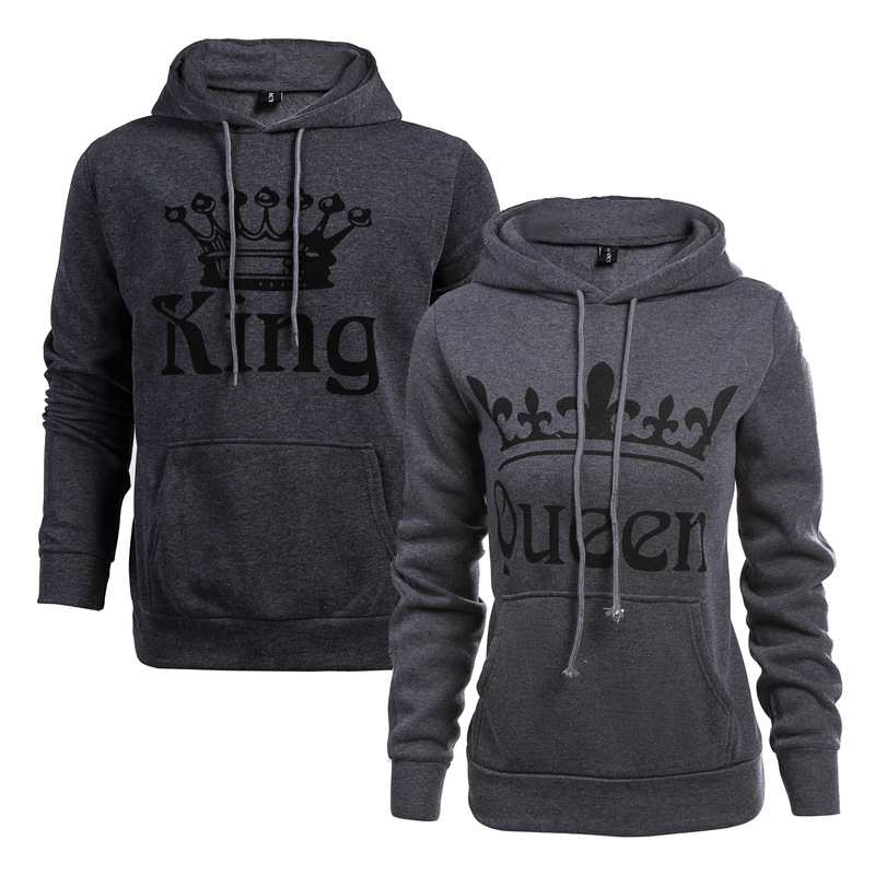 2019 Autumn and winter Women Sweatshirt Casual Fashion New Style Sexy Letter Sweatshir Camisetas Mujer King Queen Sweatsh in Hoodies amp Sweatshirts from Women 39 s Clothing