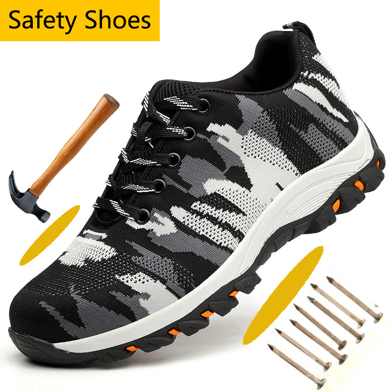 Protective Steel Toe Anti-smashing Work Safety Shoes Camouflage Mesh Anti-puncture Safety Shoes For Men Breathable Hiking Shoes