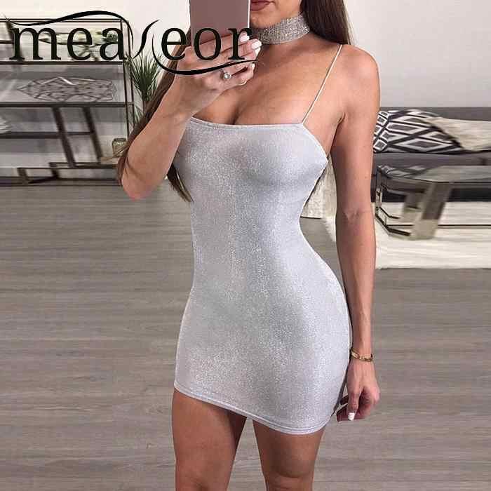 נשים שמלת קיץ מקרית ספגטי רצועת שרוולים ללא משענת כסף מעל הברך Slim מועדון המפלגה יומי שמלות Feminino Vestidos