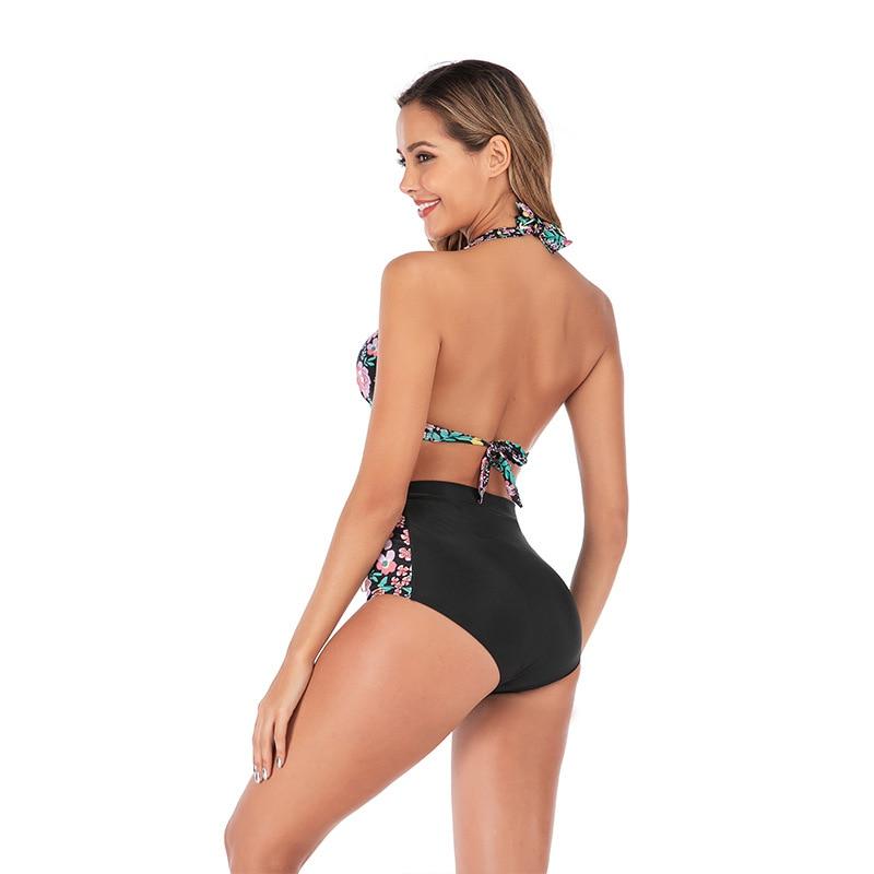 2019 женский купальник бикини с высокой талией и сеткой, 3XL размера плюс, купальный костюм, бикини с Африканским принтом, 2 предмета, одежда для ... 40