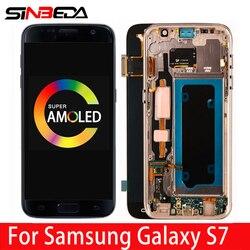 Oryginalny AMOLED do SAMSUNG GALAXY S7 wyświetlacz LCD ekran dotykowy Digitizer montaż z ramką do SAMSUNG S7 G930 G930F LCD