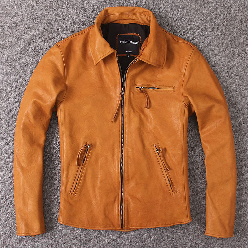 Men's Leather Jacket Vintage Wax Genuine Leather Jacket Men Coat Short Spring Autumn Real Cow Leather Jackets Brown Slim KJ2279