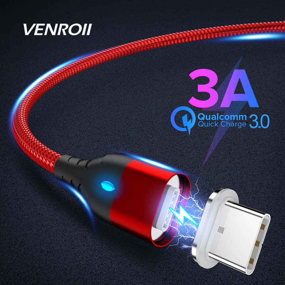 Venroii Magnetic <font><b>Cable</b></font> Micro USB Type C For <font><b>Samsung</b></font> S8 <font><b>S9</b></font> S10 Xiaomi Mi 9 3A Huawei P20 Fast Charging Type-C Magnet <font><b>Charger</b></font> Cord image