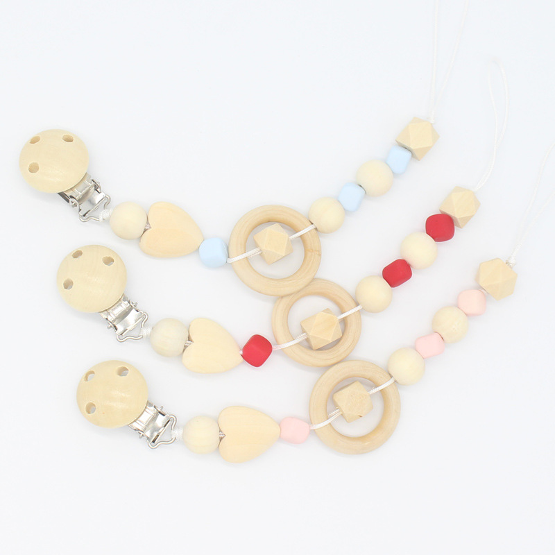 New Baby Pacifier Clip Soother Clips Safe Wooden Crochet Beads Chew Toys Infant Colorful Natural Nipple Clip For Baby Anti-lost