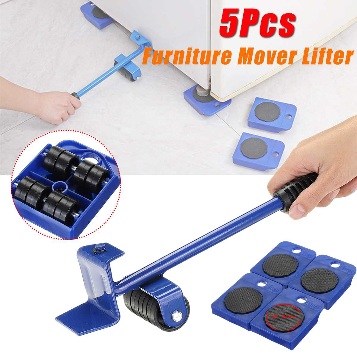 5Pcs/set Iron Furniture Mover Lifter 4 Mover Roller+1 Wheel Bar Rotatable Easy Slides Furniture Transport Lifting Hand Tool Set