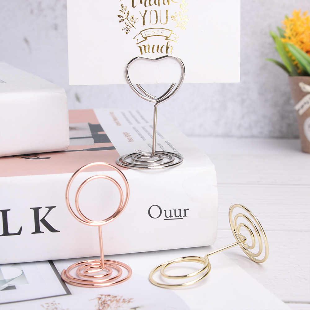 1 pc metal lugar cartão titular romântico foto clipe de mesa número suporte de papel braçadeira festa de casamento decoração do desktop