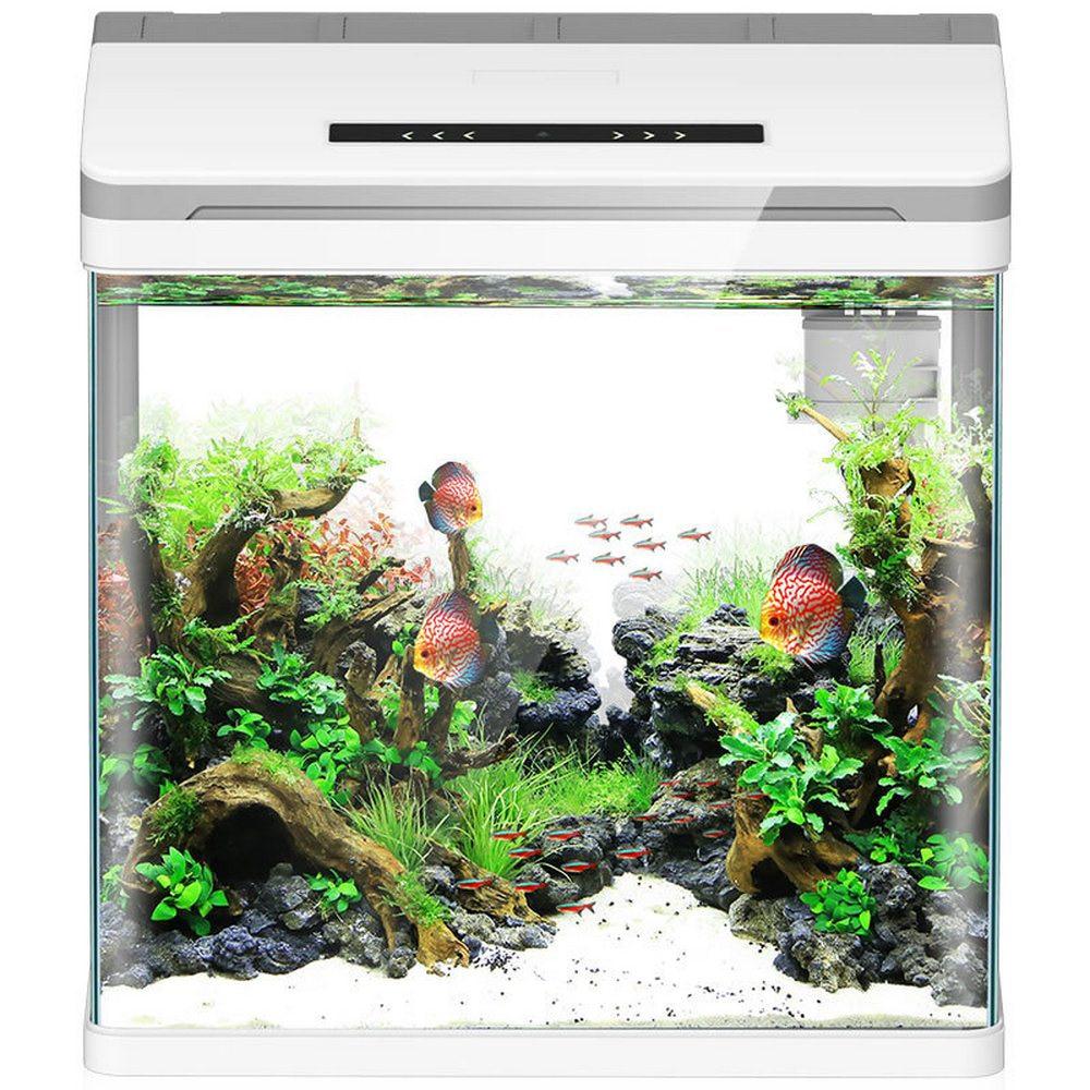 Mini inteligente acuario Betta peces acuario creativo perezoso escritorio pecera hogar auto circulación de vidrio trae caja de alimentación sin agua - 5