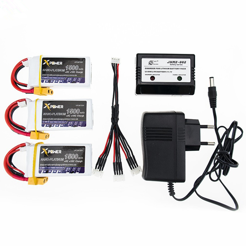 XPower <font><b>LiPo</b></font> Battery 11.1V <font><b>1500Mah</b></font> <font><b>3S</b></font> 40C Max <font><b>60C</b></font> XT60 Plug T Plug with Charger For RC Quadcopter Drone Helicopter Car Airplane image