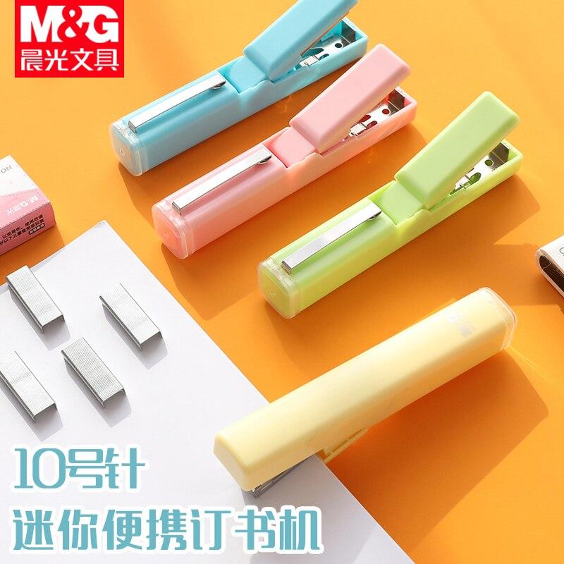 Sandro Pen Stapler Student Supplies Kawaii Mini Cute Small Household Portable Carrying Small No. 10 Nail Machine Set