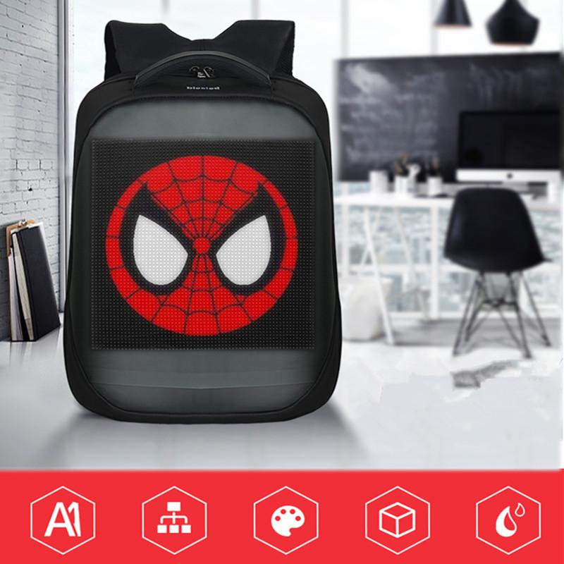 New three generations of led display <font><b>advertising</b></font> tools backpack luminous multi-function computer backpack can connect to WiFi image