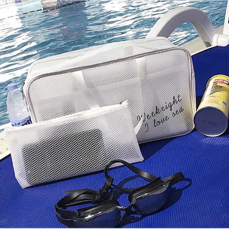 Nowa przenośna wodoodporna torba do przechowywania worek przezroczyste torebki kosmetyczki kosmetyczka worek podróżny sucha mokra siatka netto