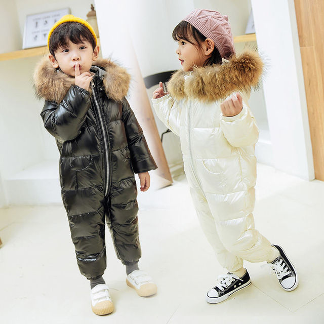 -30 Russia Winter White Duck Overalls Snowsuits Baby Kids Boys Girls Thick Down Coat Clothes Toddler Infant Warm Parka Jacket 3Y 10