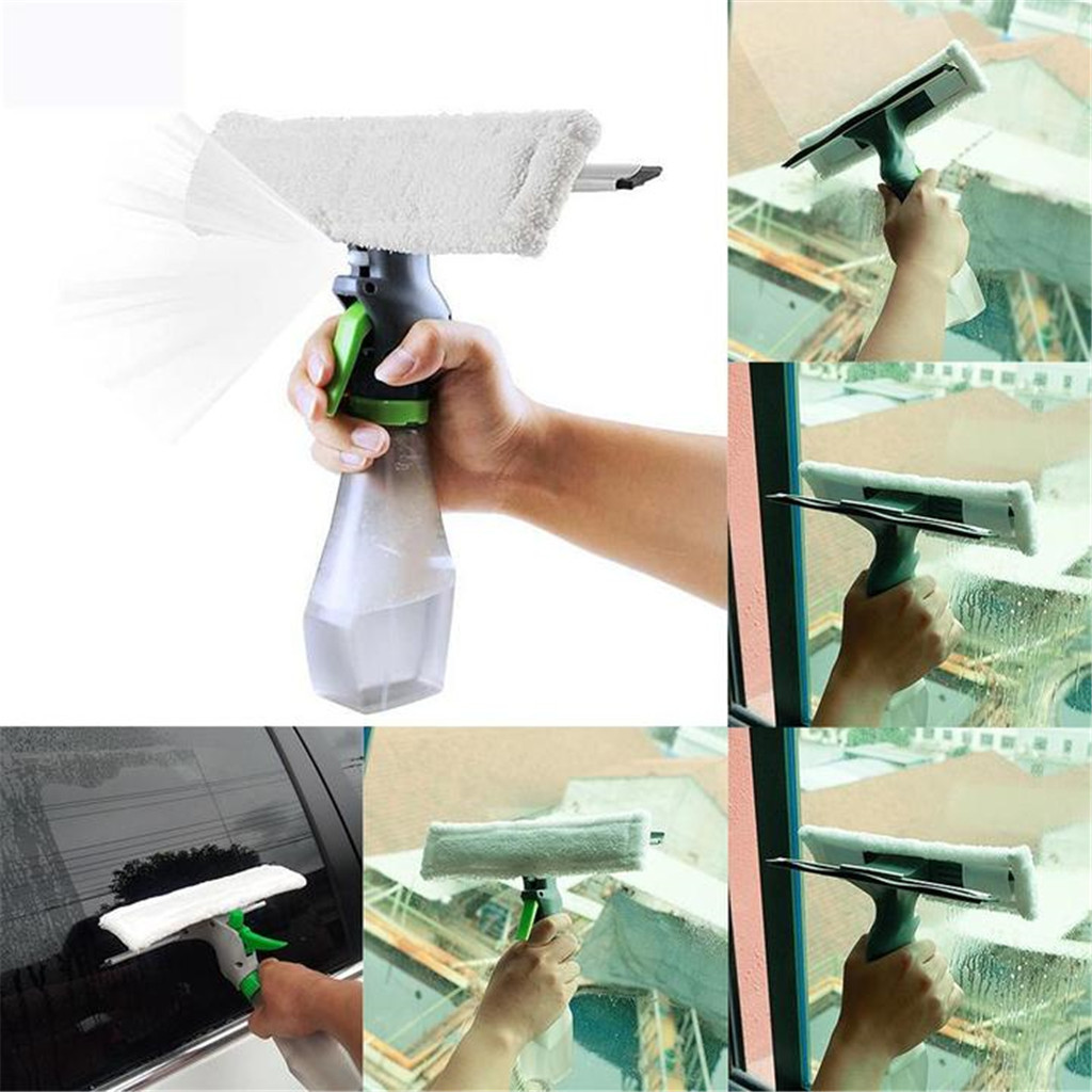 3 in 1 Window Cleaner Spray Bottle Wiper Squeegee Microfibre Cloth Pad Kit Car Wiper Spray Glass Brush