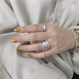 Image 1 - Silvology 925 Esterlina Anéis de Prata Irregular Ampla Matéria Indústria Artesanal Textura Estilo Anéis para As Mulheres Novo 925 Jóias de Prata