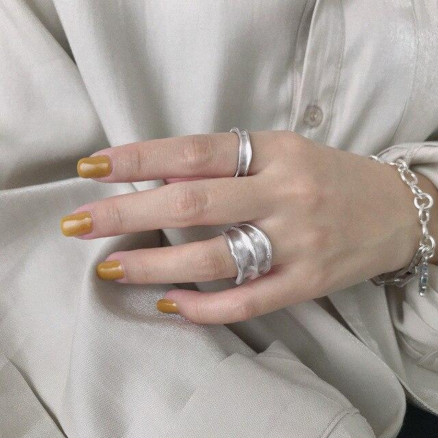 Silvology 925 Esterlina Anéis de Prata Irregular Ampla Matéria Indústria Artesanal Textura Estilo Anéis para As Mulheres Novo 925 Jóias de Prata