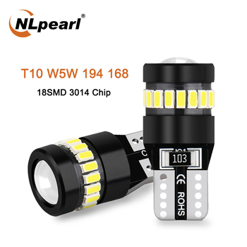 NLpearl 2x Signal Light W5W LED Bulb 12V 3014 3030SMD 18SMD T10 W5W Led Canbus Car Clearance Parking Lights Interior Light White 10pcs car lights t10 led clearance lights w5w parking bulb white 6000k crystal blue 192 168 indoor light 12v car accessories
