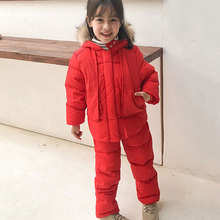 цена на 2019 Winter Down Jacket Clothing Sets Toddler Boys & Girls Warm Down Coats + Overalls Kids Winter suit For Girls 2-6 Years