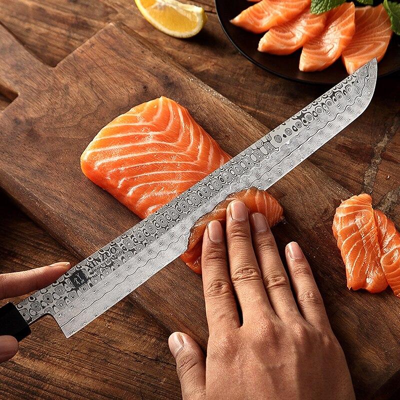 Image 3 - XINZUO 10.5 Sakimaru Knife 110 Layers Damascus Steel Sushi Sashimi Salmon Fish Filleting Kitchen Chef Knife Octagonal HandleKitchen Knives   -