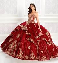 Luksusowe księżniczka wino Quinceanera sukienki koronkowe aplikacje cekiny suknia balowa Vestidos De Quinceañera Sweetheart Sweet 16 sukienka
