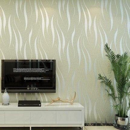 New Style Simple 3D Curve Article Non-woven Wallpaper Aquatic Plants Leaf Wallpaper TV Backdrop Bedroom Living Room