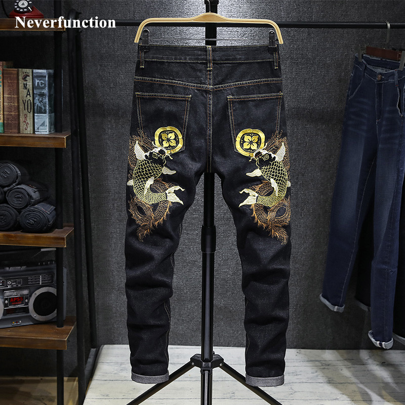 Men Streetwear Stretch Slim Fit Carp Embroidery Jogger Jeans Pants Japanese Chinese Style Man Cotton Casual Denim Trousers