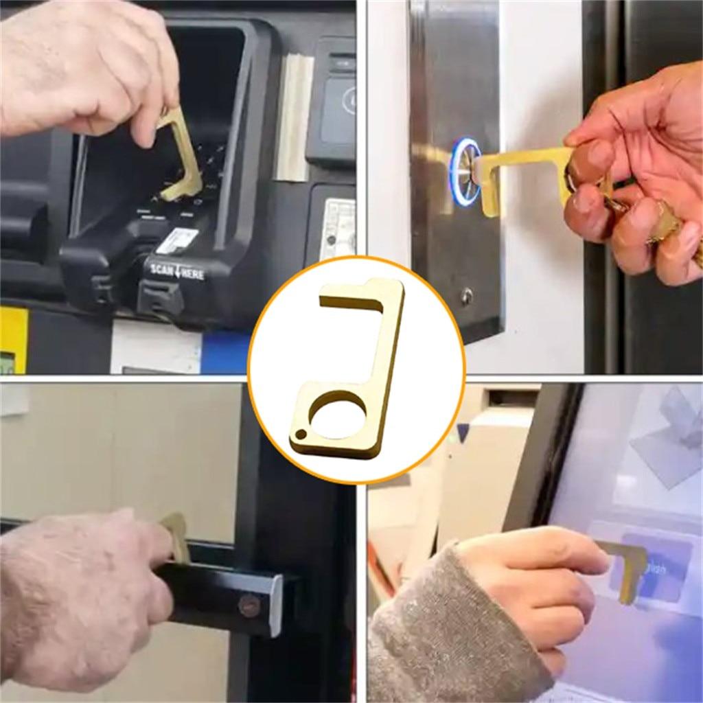 2x Portable Hygiene Hand Antimicrobial Brass EDC Door Opener Elevator Handle Key