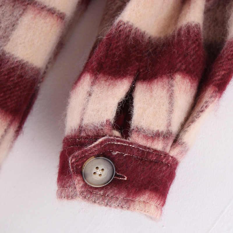 AGong ヴィンテージのチェック柄ウールコートの女性のファッションターンダウン襟のジャケットの女性エレガントなポケットコート女性 KI