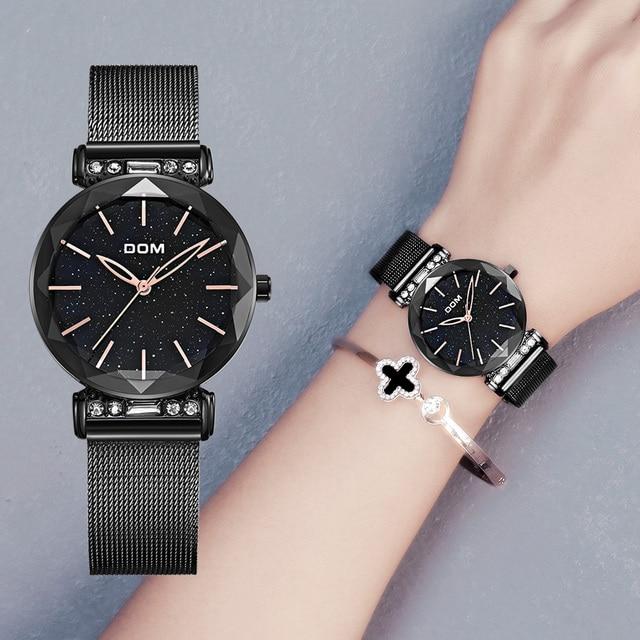 DOM الفاخرة السماء المرصعة بالنجوم ساعة امرأة سوداء الساعات موضة عادية أنثى ساعة اليد مقاوم للماء الصلب السيدات فستان ساعة G 1245GK 1M