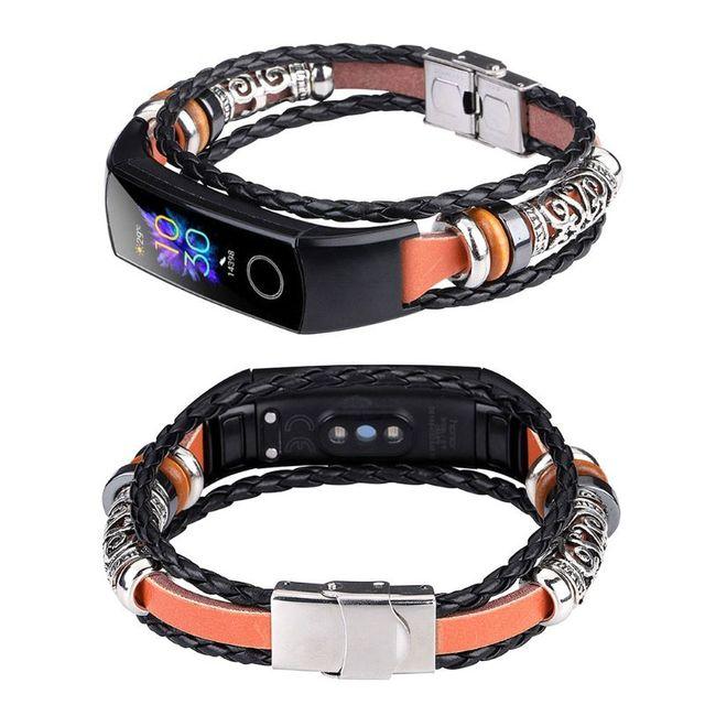 สไตล์แห่งชาติถักเชือกสร้อยข้อมือโลหะ Conjunction สายนาฬิกาสำหรับ Huawei Honor Band 5/4สร้อยข้อมือ Qyh