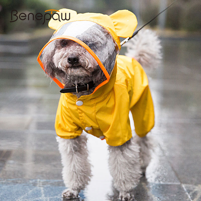 Benepaw Cute Small Medium Pet Dog Raincoat With Hood Lightweight Durable Breathable Puppy Dog Clothes Waterproof Jacket Coat