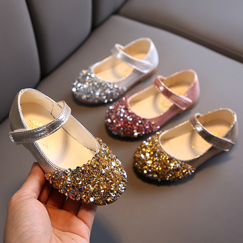 bling bling Baby Girls Shoes Kids Princess Shoes For Cocktail Party Little Girls Wedding Dress Shoes Gold Pink Silver 1-7years 2019 bling kids girls wedding dress shoes children princess shoes bowtie purple leather shoes for girls casual shoes flat