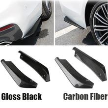 2PCS Universal Car Rear Bumper Lip Angle Splitters Diffuser Protection Carbon Fiber Gloss Black Winglets Side Extensions 1 pair carbon fiber car rear bumper lip diffuser splitters protection side extensions for bmw w204 e90 e92 for benz for audi a4