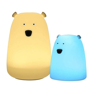 Nuevo conjunto de luces nocturnas para niños de silicona Oso Polar bonito para padres e hijos lámpara de dormitorio con 7 colores cambiantes para habitación de niños (paquete de 2)