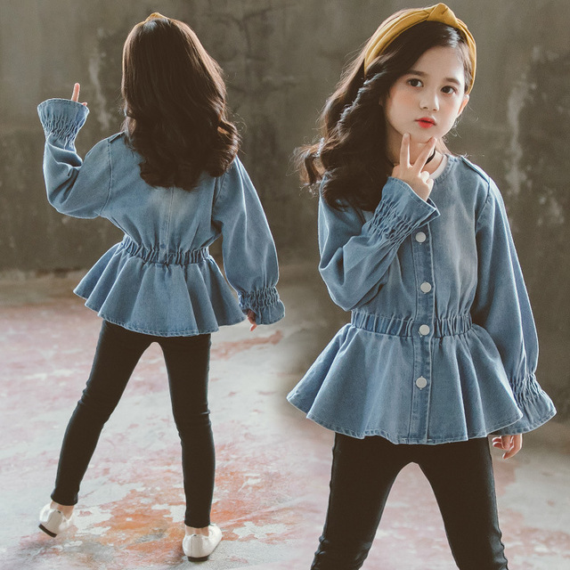 Baby Blouse Spring Fall 2020 Children Jeans Coat Big Girls Clothes School Shirts for Girls Button Down Tops and Blouses 6 8 12Y