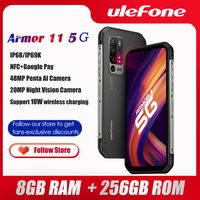 Ulefone-teléfono inteligente Armor 11 5G, móvil resistente, Android 10, 256GB + 8GB, impermeable, 48MP, NFC, carga inalámbrica
