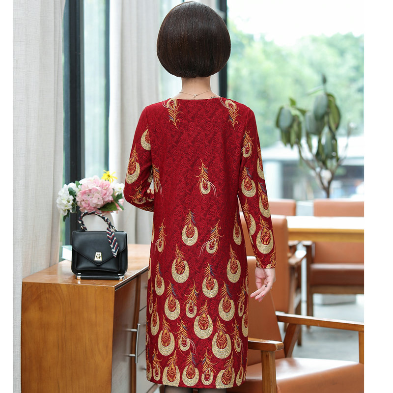 Feather Pattern Printing Dresses Women Red Navy Blue Long Sleeve Round Collar Jacquard Weave Straight Shift Dress Autumn 2019 in Dresses from Women 39 s Clothing