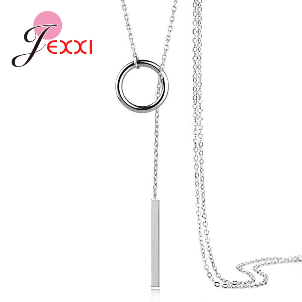 New Popular 925 Silver Jewelry Geometric Round Pendant with Chain Wholesale