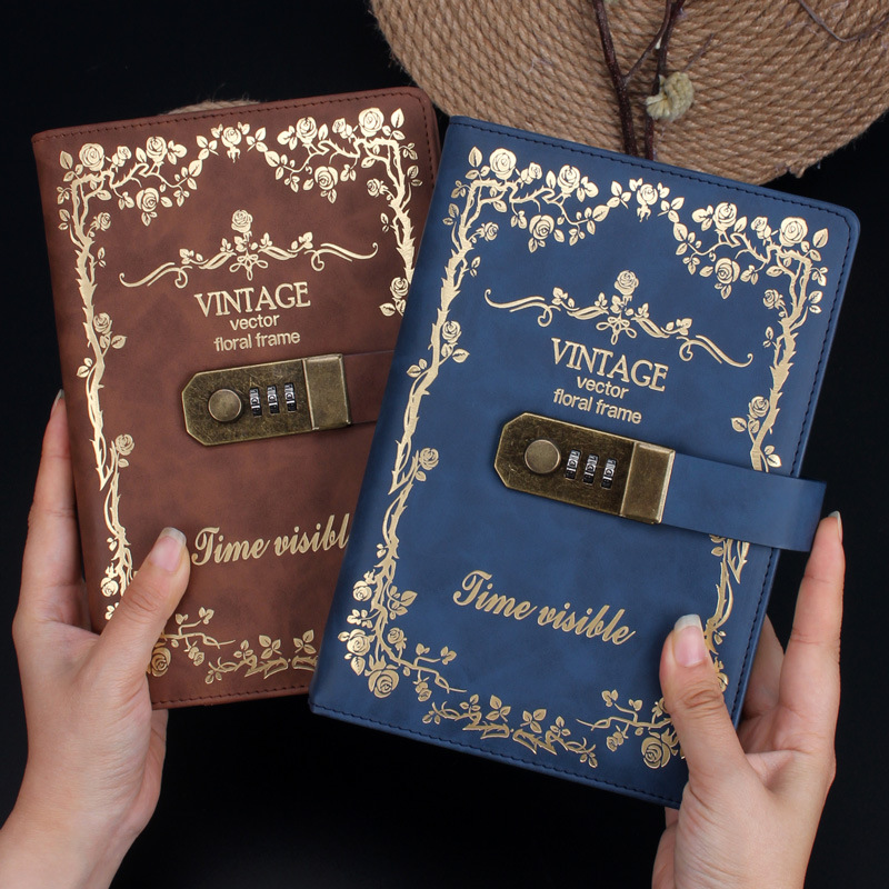A5 Password  Notebook Diary Portable Password Booklet Small Fresh Multi-function European Lock