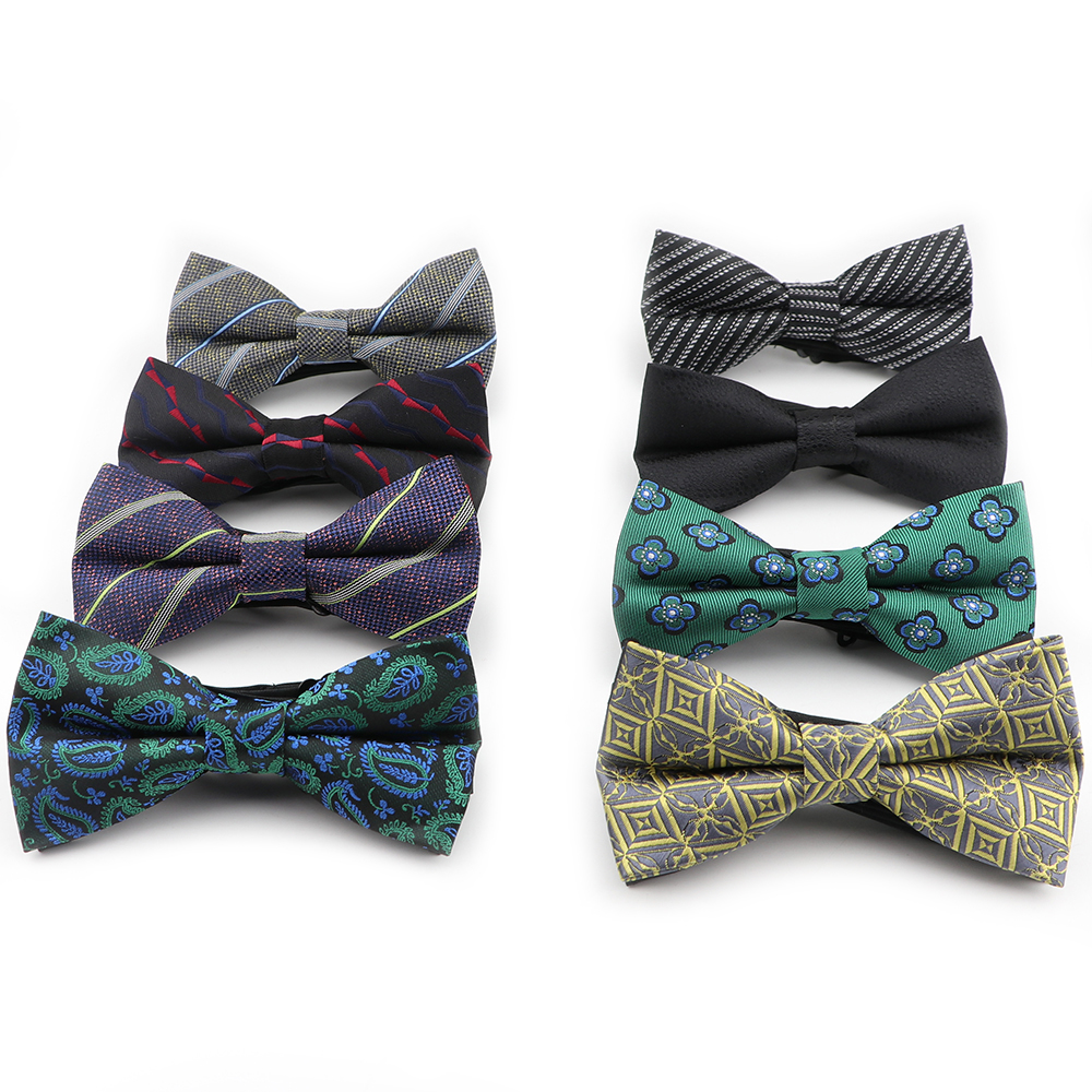 Polyester Bowtie Flexible Printed Formal Fashion Bow Ties Jacquard Paisley Striped Slim Cravats Neckwear Butterfly