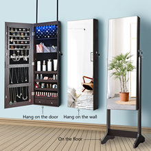 KingYee 8 LED Jewelry Organizer Cabinet with Full-Length Body Mirror Wall Door Mounted Jewelry Armoire, Lockable Storage Cabinet