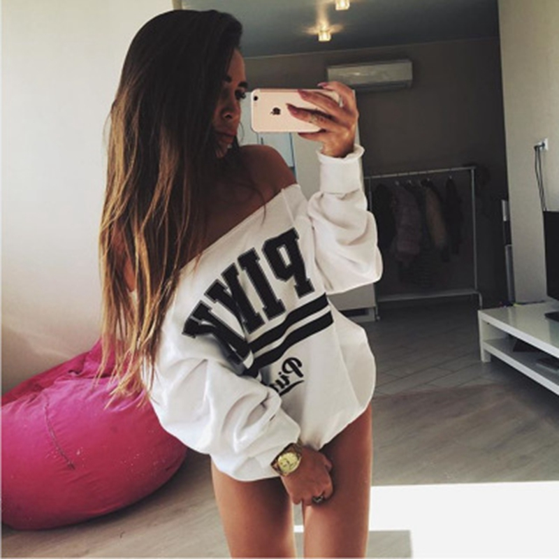 2019 Winter Hoodie Women Clothes Pullover Autumn Casual Sweatshirt Female Jumper Cheap Long Oversized One Shoulder Letter Drees