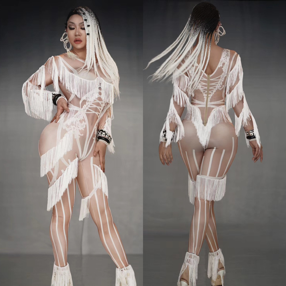 White Tassels Sexy Perspective Women's Pole Dance Performance Clothing Fashion Skinny Female Nightclub Style DJ Stage Costumes