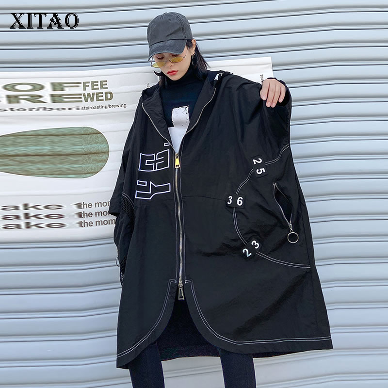 XITAO Letter Zippers Irregular Streetwear Trench Women 2020 Spring Fashion Style Hoodie Collar Nine Quarter Bat Sleeve XJ3585