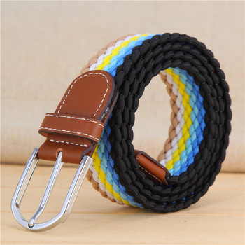 Men Elastic Belt Unisex Striped Women Stretch For Knitted Braided Long Extend Army 105CM Fashion