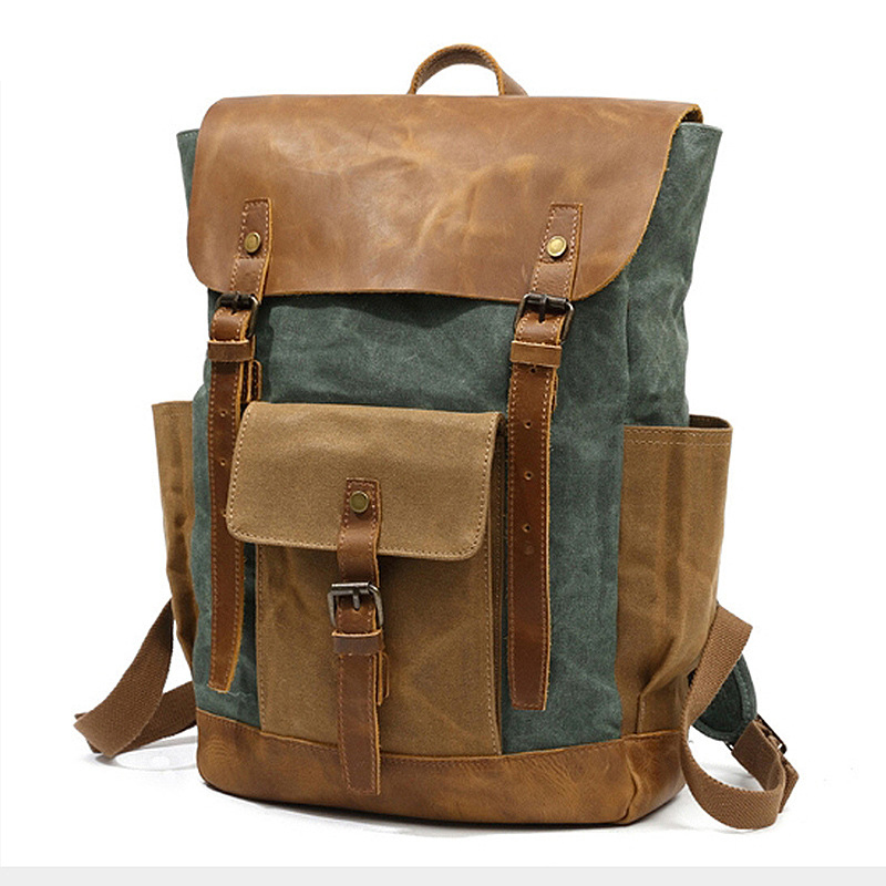 Men Backpack Waterproof Computer Laptop Bag Vintage Canvas Large Capacity Travel Backpacks Leather Military Male Backpack School