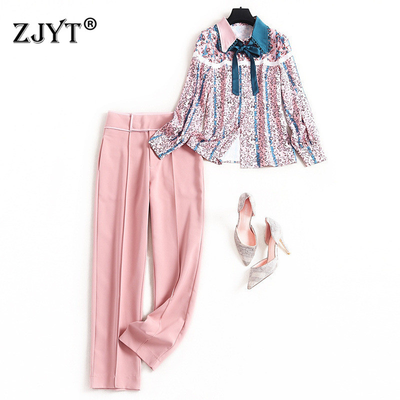High Street Fashion Women Pants 2Piece Set 2020 Spring New Designer Floral Print Long Sleeve Blouse And Pants Suit Set OL Outfit