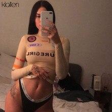 KLALIEN-Camiseta informal de impresión de Harajuku para mujer, ropa básica deportiva ajustada con cuello alto elástico de manga larga para otoño, 2020
